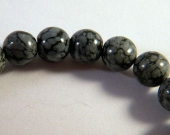 5 pearls natural 10mm PP13 snowflake Obsidian