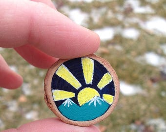Mountain pin, Yellow Sun Pin, Wooden brooch, painted wood slice, Mountain jewelry, Sun and Mountains, Mountain brooch, Nature Lover Gift