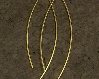 Long Gold Earrings / Sleek and Elegant Golden Dangles / Simple Metal Curves of Elegance / Minimalist Beauty