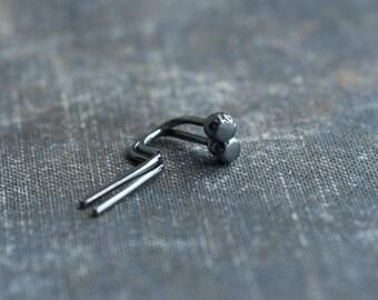 minimal organic filed dot threader earrings, oxidised sterling silver tiny geometric dot minimal earrings