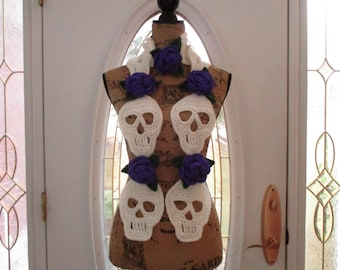 Handmade Crocheted Skull & Roses Scarf (Day of the Dead) Ready to Ship