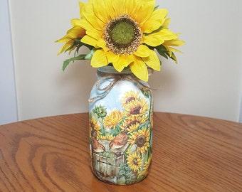 SUNFLOWER Garden - Birds Mason Jar Vase, Mason Jar Centerpieces, Decoupage, Painted, Mason Jar Decor, Cottage Decor, Utensil Holder