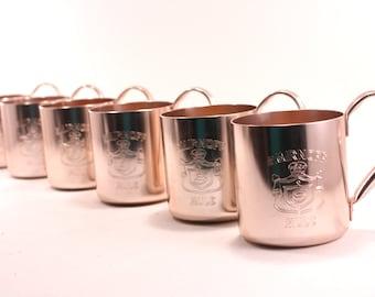 Vintage Copper Aluminum Smirnoff Mule Mugs Set Of 6