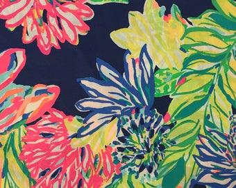 "resort navy travelers palm poplin cotton fabric square 18""x18"" ~ lilly pulitzer"