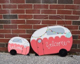 Mini camper sign; camper door sign; happy camper sign; wood door hanger; camper door hanger; glamping; camper accessories; camper decor