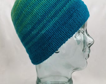 Knit Hat Hand Knit Alpaca & Wool Hat Warm Winter Hat Striped Hat Gradient Fade Hat Knit Striped Hat Warm Beanie Bright Hat Free Shipping