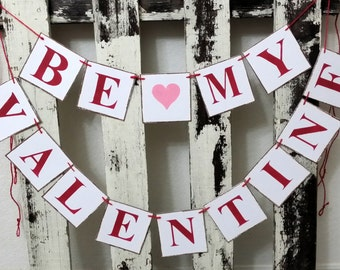 Valentine Banner Garland Be My Valentine Shabby Chic 2 Piece Banner Red And Pink Banner Tiles Valentine Garland  Romantic Banner