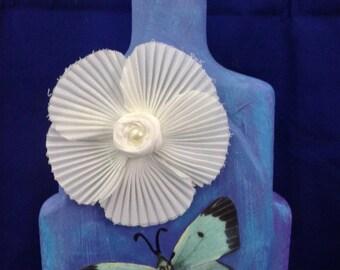 Altered Bottle Asian Art  Nature Inspired Art Altered Flower Butterfly Bottle Bookcase Art Blue Art Bottle