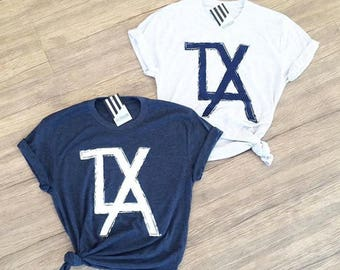 Hey, Penelope TXLA T-Shirt in Vintage Navy or White Fleck (Very light grey blend)