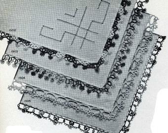 Vintage Tatting PATTERN Handkerchief Edgings 1940s WWII era  PDF instant Download Star 15