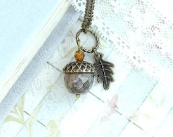 Acorn Pendant Necklace Autumn Jewelry Forest Necklace Acorn Jewelry Woodland Necklace Fall Jewelry