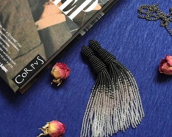 Black tassel earrings Bridal earrings Fringe earrings Prom earrings Bohemian earrings Silver beaded tassel earrings Boho earrings