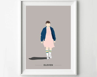 Stranger Things Eleven TV Show Poster - TV Poster, Minimalist Wall Poster, Quote Print, Digital Art Print