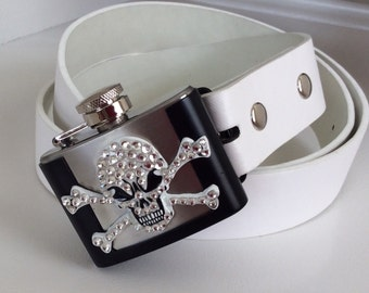 Crystal Pirate Skull and Crossbones Flask Belt Buckle