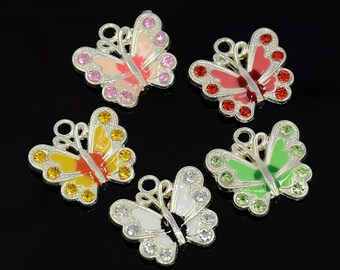 10 Silver Plated Enamel Butterfly Charms w/Rhinestones Asst. Colors (B18h3)