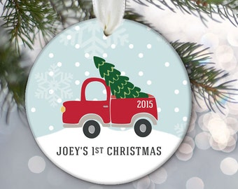Baby's 1st Christmas Ornament, Vintage red truck and Christmas tree Personalized Baby Ornament, Christmas Baby Gift Baby Shower Gift OR712