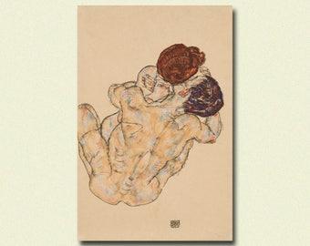 Egon Schiele Print - Lovers Man and Woman 1914 - Schiele Art Print Schiele Poster Art Reproduction Gift Idea