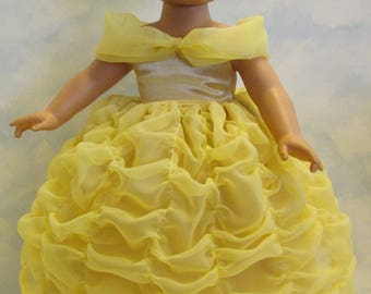 """Awesome Belle's Gown from Disney's Beauty and the Beast for 18"""" American Girl Type Dolls!"""