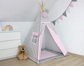 Teepee Set,  Kids Teepee, Tee pee, Childrens Teepee, Teepee tent, Tepee, Teepee, Kinderzelt, wigwam with mat, Zigzag with grey