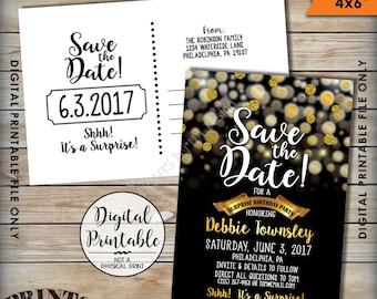 """Save the Date for a Surprise Birthday Party Black & Gold Invite, Gold Glitter Surprise Birthday Save the Date, Golden, 4x6"""" Printable Files"""