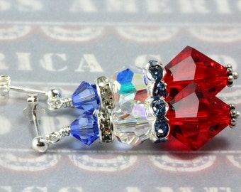 Swarovski Patriotic Earrings, Red White Blue Earrings, Fourth of July, USA Patriotic, Sterling Silver
