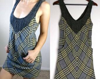 Yellow Plaid 90s Free People Sweater Winter Dress Size 4// Bohemian Knit Tank Dress Size Small