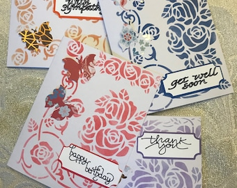 Butterfly Floral Note Card 6 Pc Set