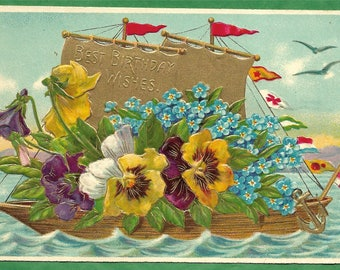 Vintage Embossed Birthday Greeting Postcard - A Ship Load of Flowers and Best Birthday Wishes  (3341)