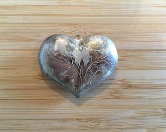 Large Vintage Engraved Heart Pendant