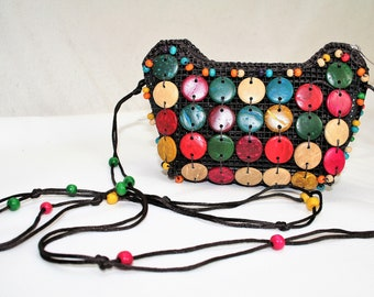 Handbag with colorful buttons. Vintage