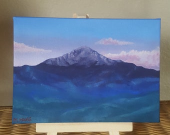 Mini 5x7 Original Pikes Peak at Sunrise Acrylic Painting with Mini Wooden Easel