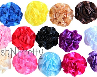 "Five NEW 3"" SATIN Single Ruffle flowers - CHOOSE Colors"