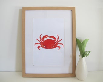 Watercolour Crab Print, Red And Orange Crab, Watercolour Animal Print