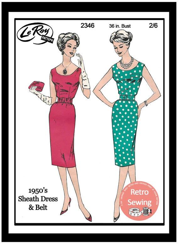 1950s Wiggle/Sheath Dress Sewing Pattern Rockabilly Pin Up