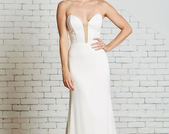 "Satin Strapless Wedding gown with Illusion Cut-Out, the ""Hensley"" CUT TO ORDER"