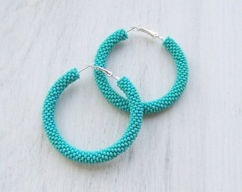 Turquoise hoop earrings - birthday gift for wife girlfriend - everyday jewelry - Statement Seed Bead Earrings - Boho Hoops - bridesmaid gift