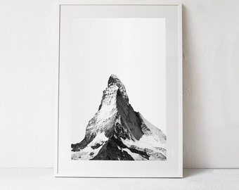Mountain Print, Mountain PRINTABLE Art Print, Large Black and White Print Photography, Scandinavian Poster Digital Download Mountain Decor