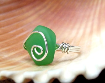 Spring Green Sea Glass Ring:  Fine Silver Swirl Spiral Wire Wrapped Dark Seafoam Beach Jewelry, Size 6