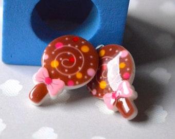 Chocolate sweet clip earrings