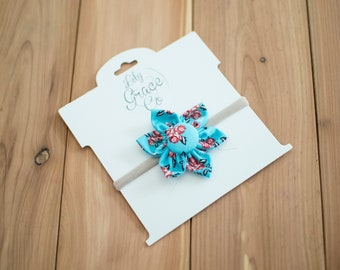 FABRIC FLOWER Hair bow Baby Blue Flower Bow Headband Hair Accessories Nylon Headband Clips Piggie Clips pigtails