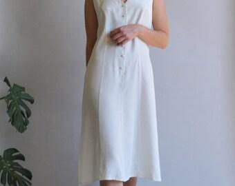 Oversized slip sheath button down white dress / S M L /