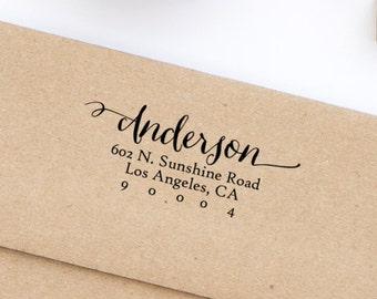 Return Address Stamp, Self-Inking Address Stamp, Custom Address Stamp, Wedding Stamp, Personalized Address Stamp, Calligraphy Style No. 16
