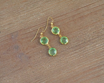 CLOSEOUT Green and Gold Dangle Earrings - Green Drop Earrings - Green Glass Earrings - Rhinestone Earrings - Mint Green Earrings
