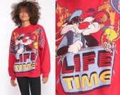 Looney Tunes Shirt NOT In THIS LIFETIME 90s Sweatshirt Tweety Bird Sylvester The Cat Cartoon Graphic Sarcastic Vintage Red Extra Large 2xl