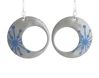 Blue Starburst Eclipse Enamel Earrings