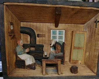 Vintage Hand Carved Wood Folk Art 3D Diorama Wall Decor Man and Woman By Hearth