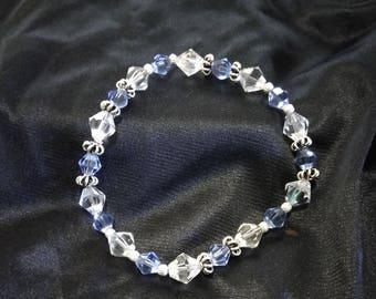 Blue and clear swarovski crystal stretch bracelet
