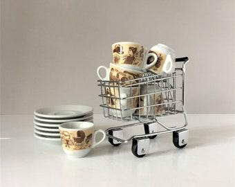 Vintage Espresso Set, Six Bistro Cups and Saucers, Italian Demitasse, Piccolo Mondo Antico, Saturnia Porcellane, Victorian Motif Coffee Cups