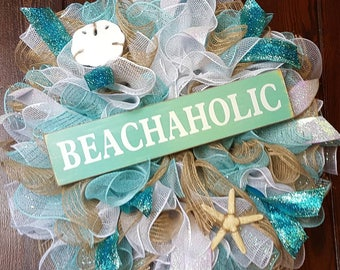 Beach Wreath, Beachy, Beachaholic, Beachaholic Wreath, Beach, Beach Gifts, Beach House, Beach Decor, Beach Decoration, Nautical, Beaches