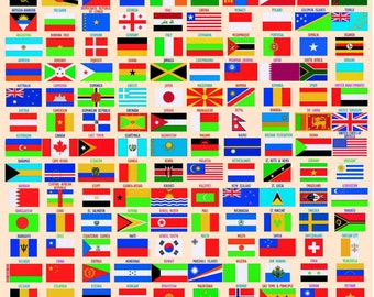 Laminated WORLD FLAGS Children Kids Learning Educational School Type Poster Wall Chart - A4 Size